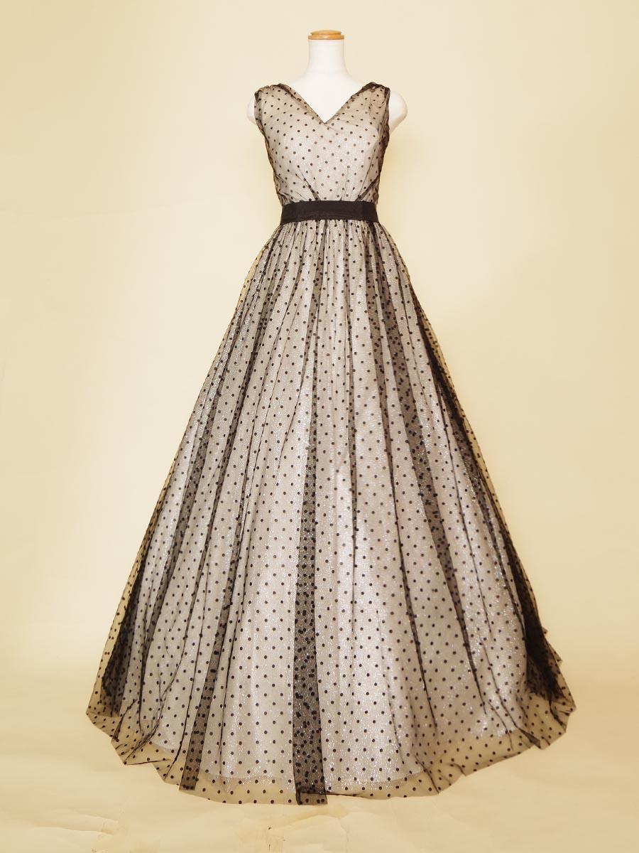 水玉ブラックドット柄の肩袖付きデザインのチュールロングドレス