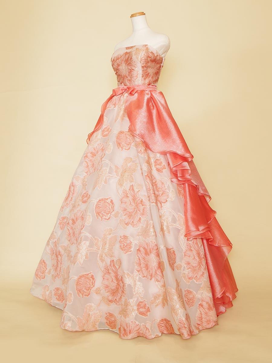 ビタミンカラーのジャガード&オーガンジーボリュームドレス