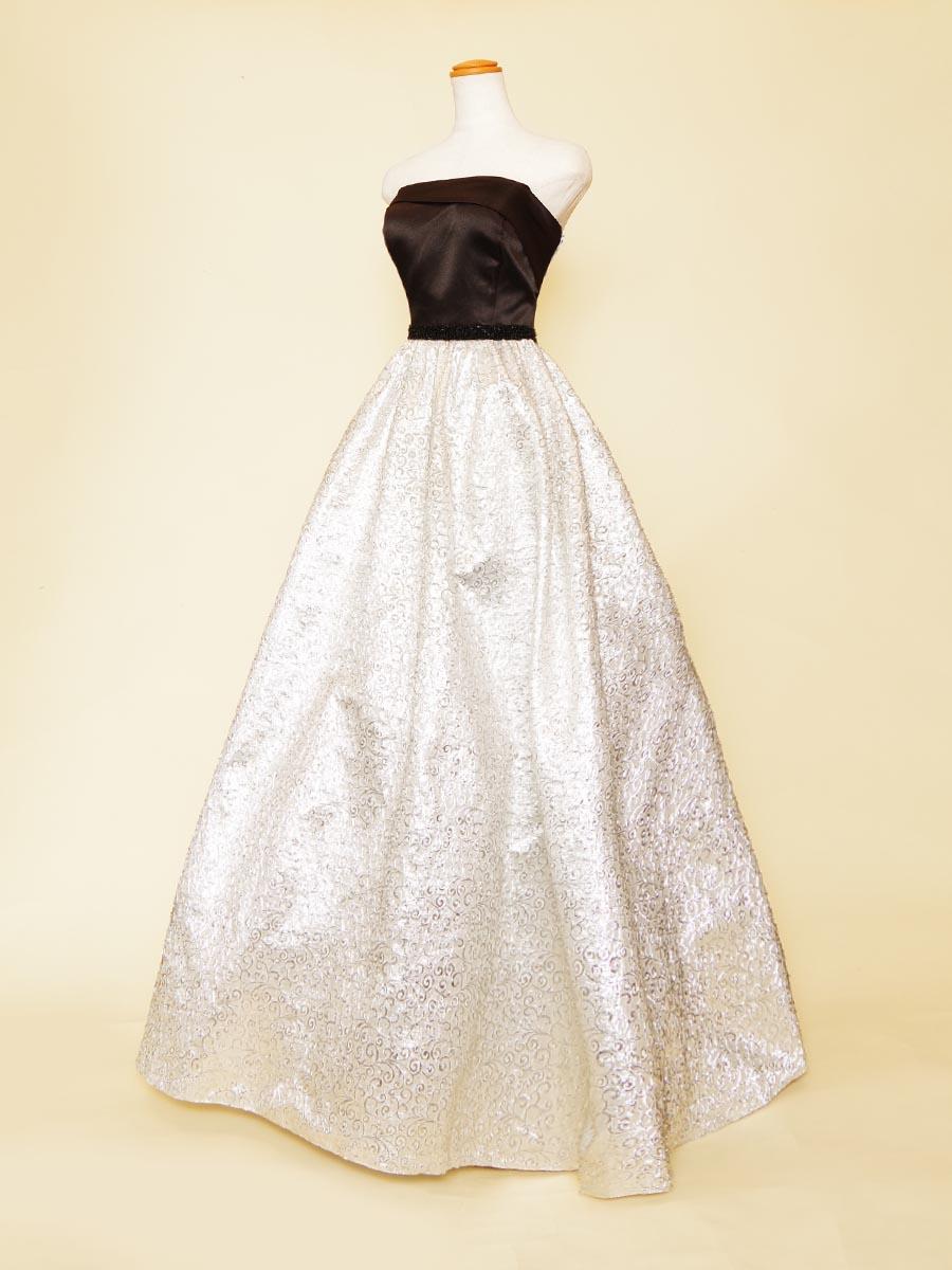 ブラックバストサテン×メタリックシルバースカートのツートンカラードレス