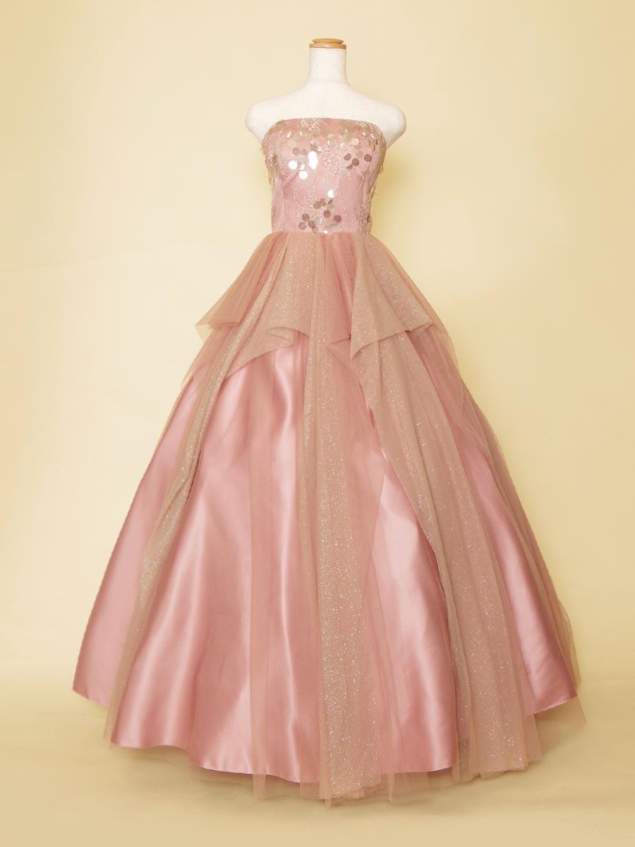 ラメ入りアシンメトリースカートが特別感のあるダスティピンクのウェディングカラードレス