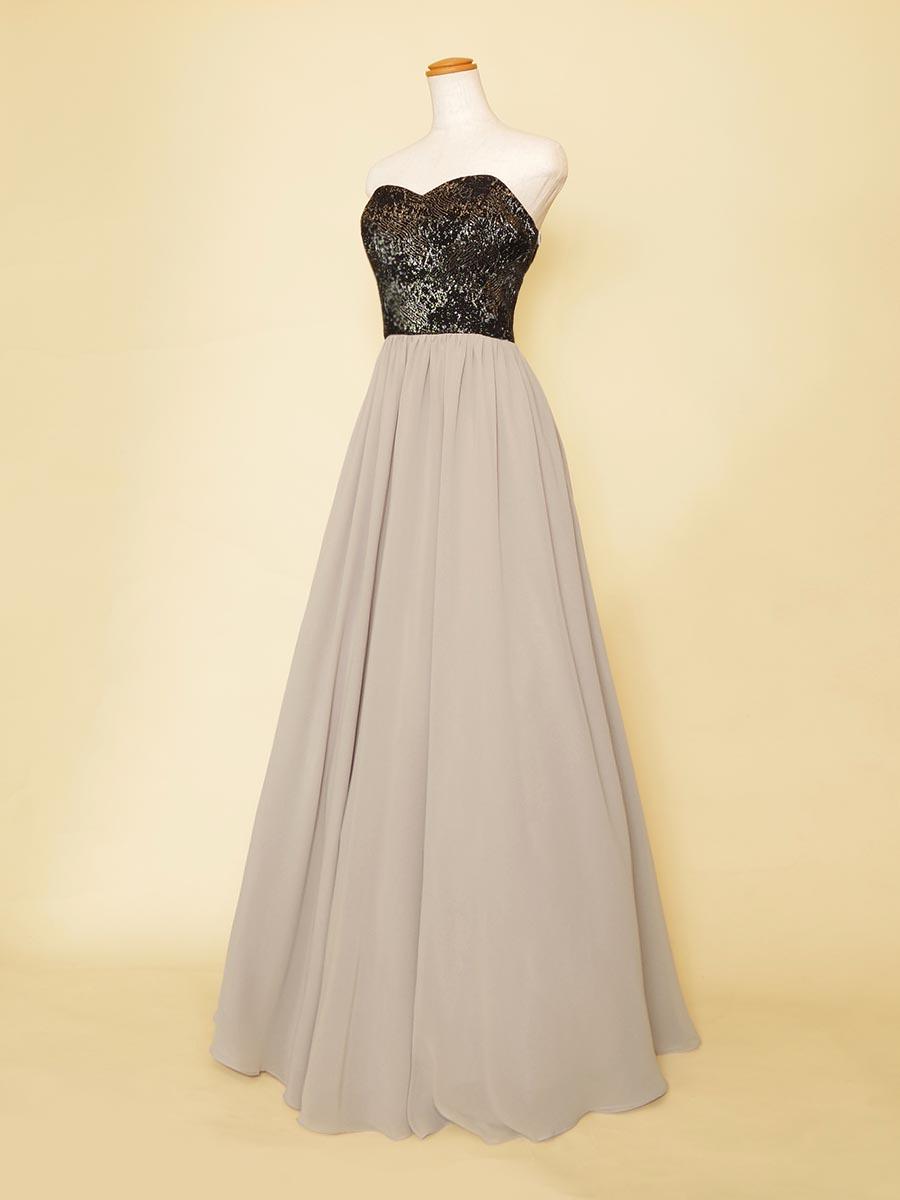スレンダーシルエットのグレーシフォンスカート×ブラックジャガードバストのオーケストラ向けロングドレス