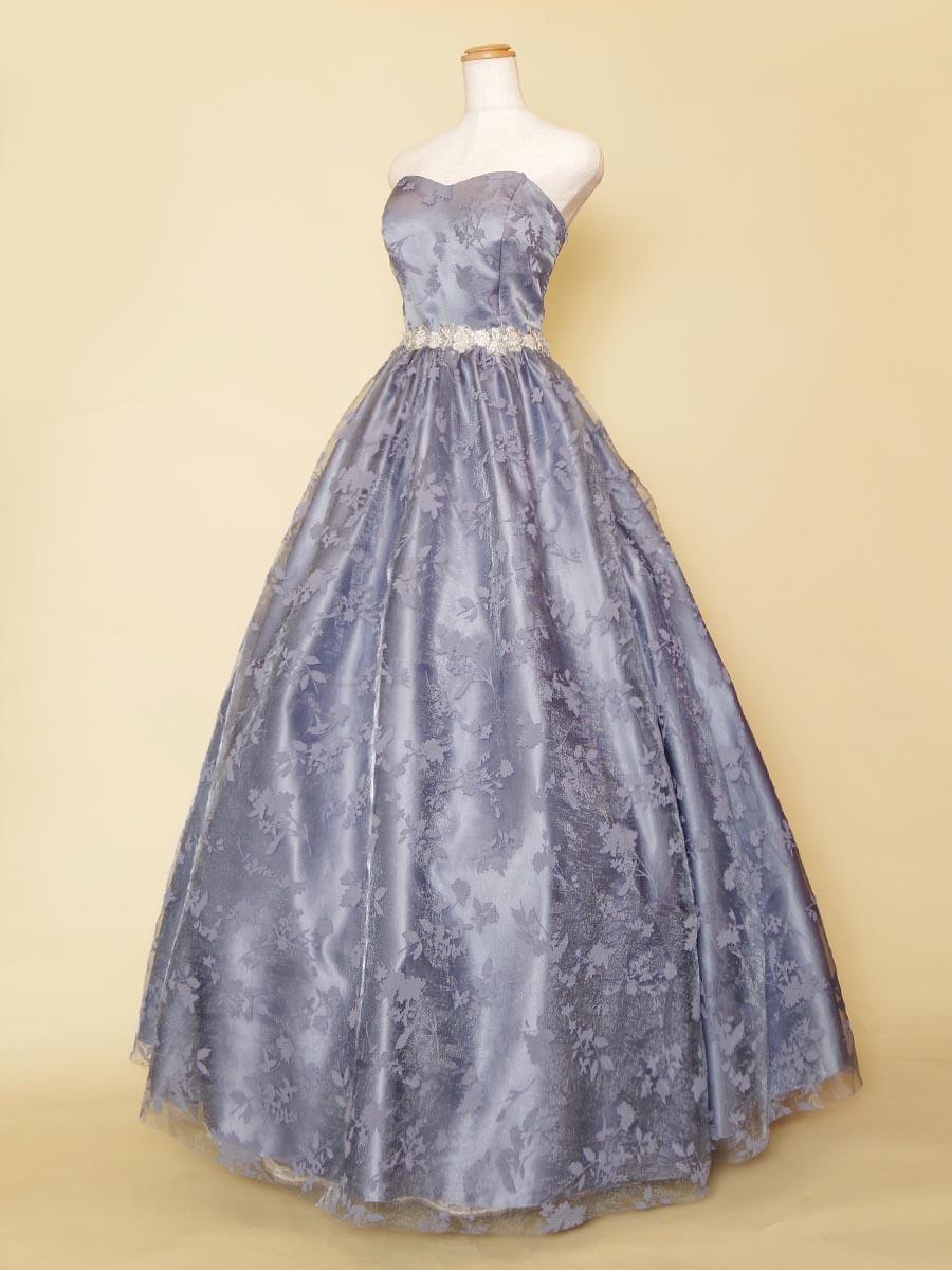 落ち着きのあるブルーの色合いのフロッキー生地を使ったシルバーウエストが上品なエレガント演奏会ドレス