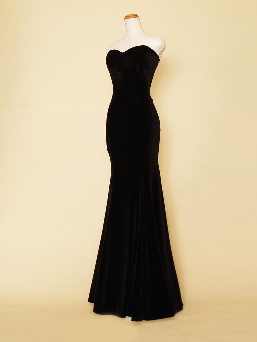 ブラックベルベットの伸縮性を持ったスタイリッシュマーメイドラインロングドレス