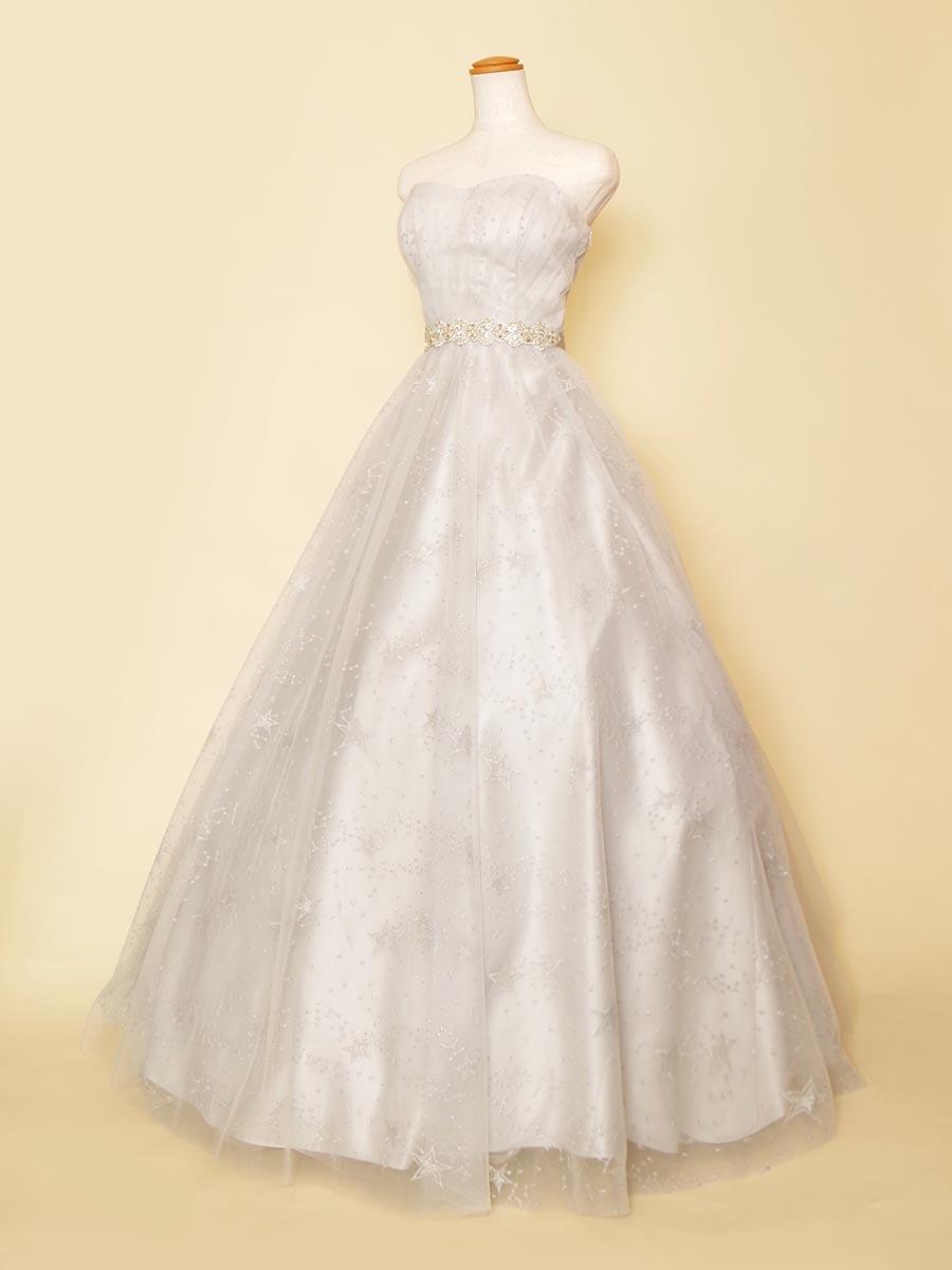 グレーシルバーカラーの幻想的な透明感を演出した星空刺繍の演奏会ボリュームドレス