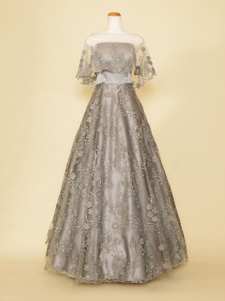 お花刺繍がしなやかなグレーカラーのケープ付き2wayスレンダードレス