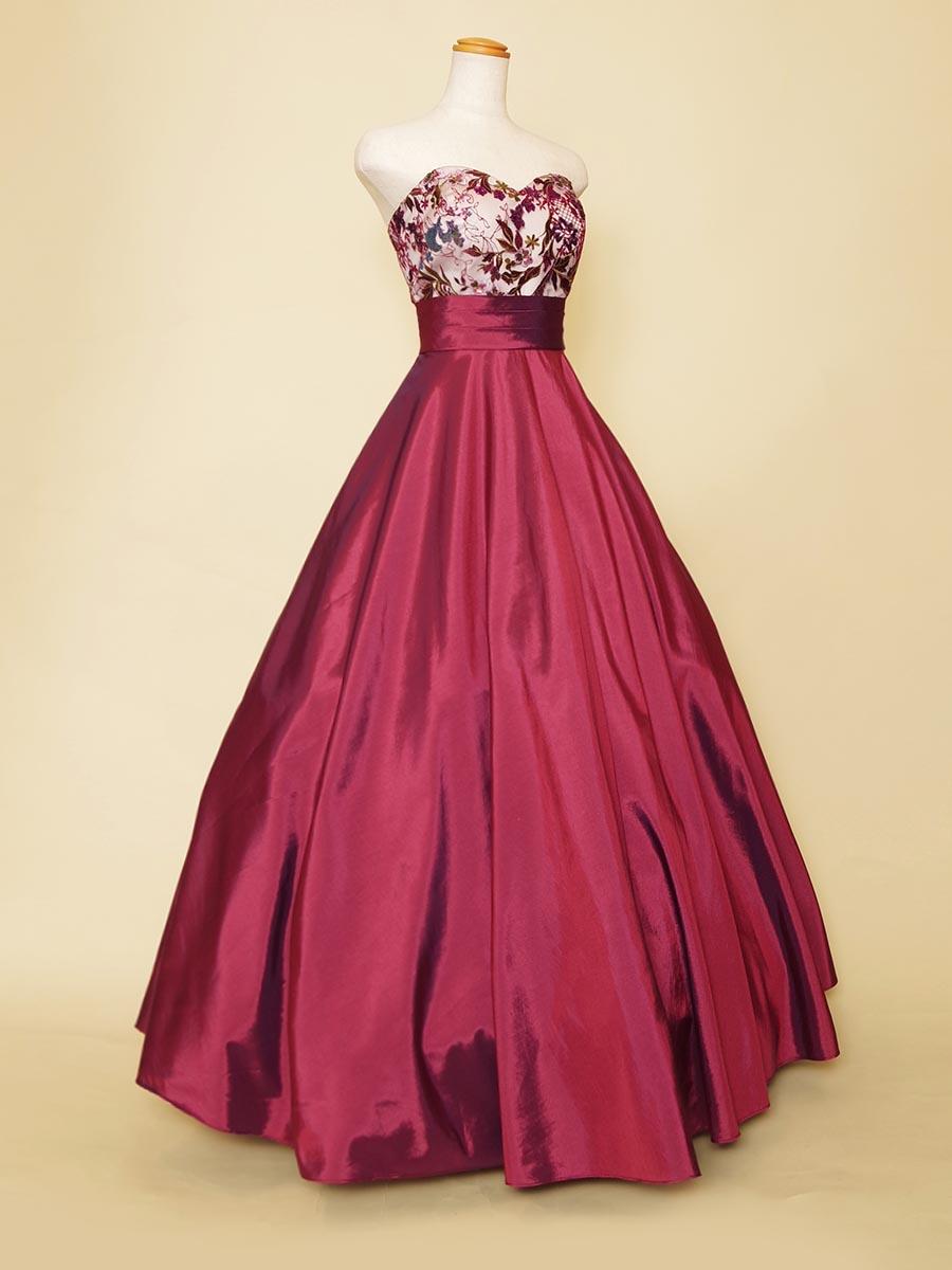 オーロラカラーのスパンコール刺繍が美しいピンクパープルのカラードレス