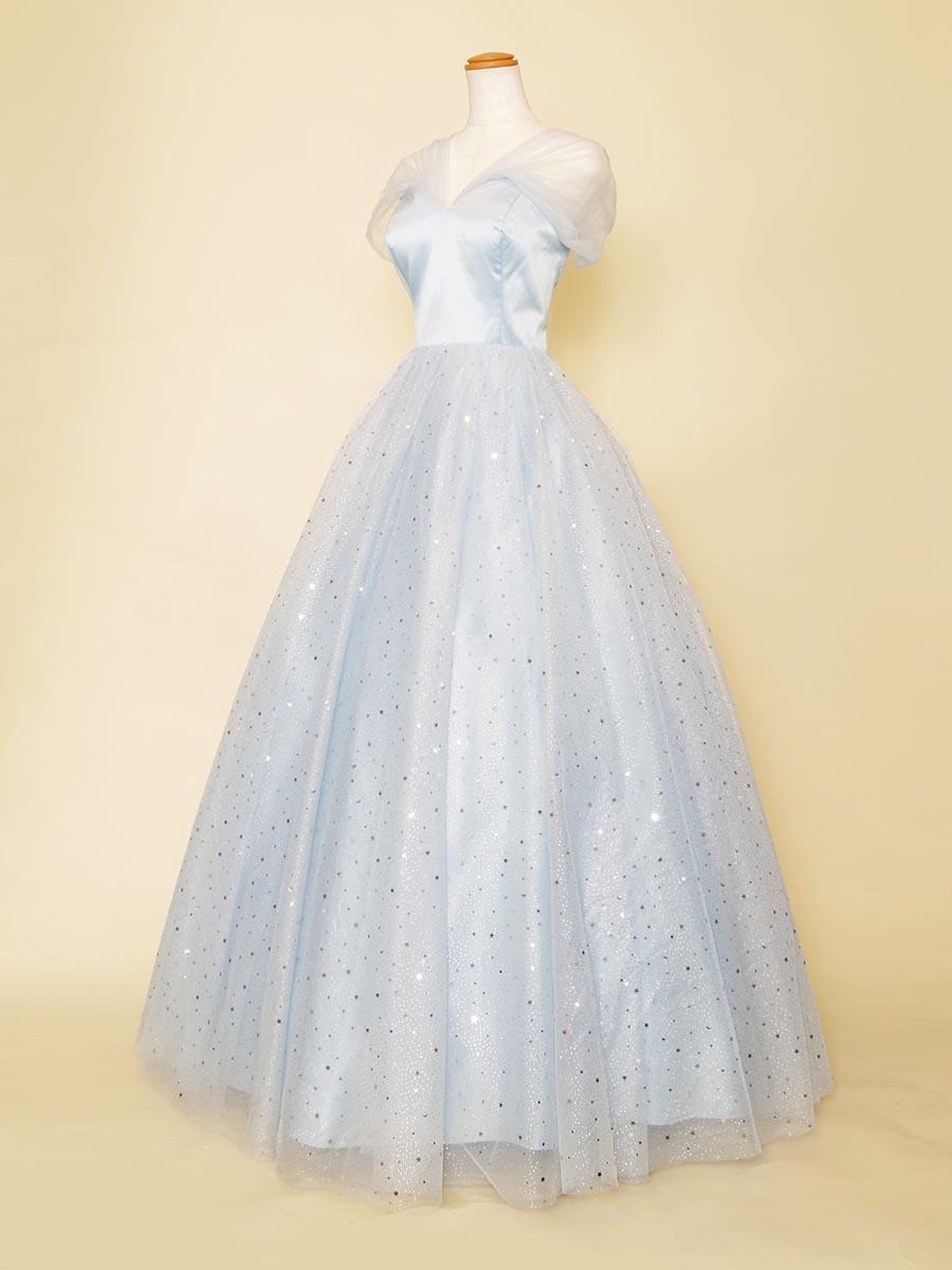 星柄キラキラデザインのパステルブルーをスカート全体に使ったふんわりショルダーステージロングドレス