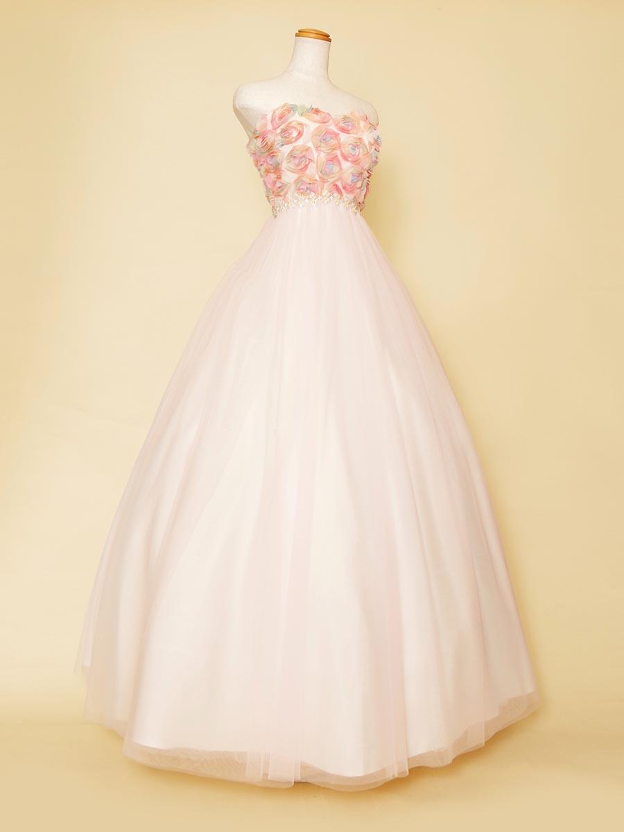 花束ブーケのようなハッピー感溢れるベビーピンクレインボーカラードレス