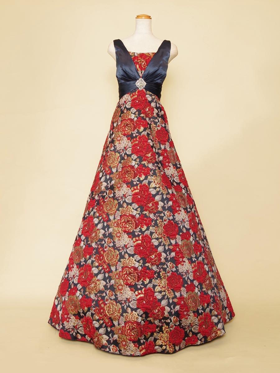 トップのクロスデザインが特徴的なフラワージャガードの和柄風スカートの肩袖Aラインドレス