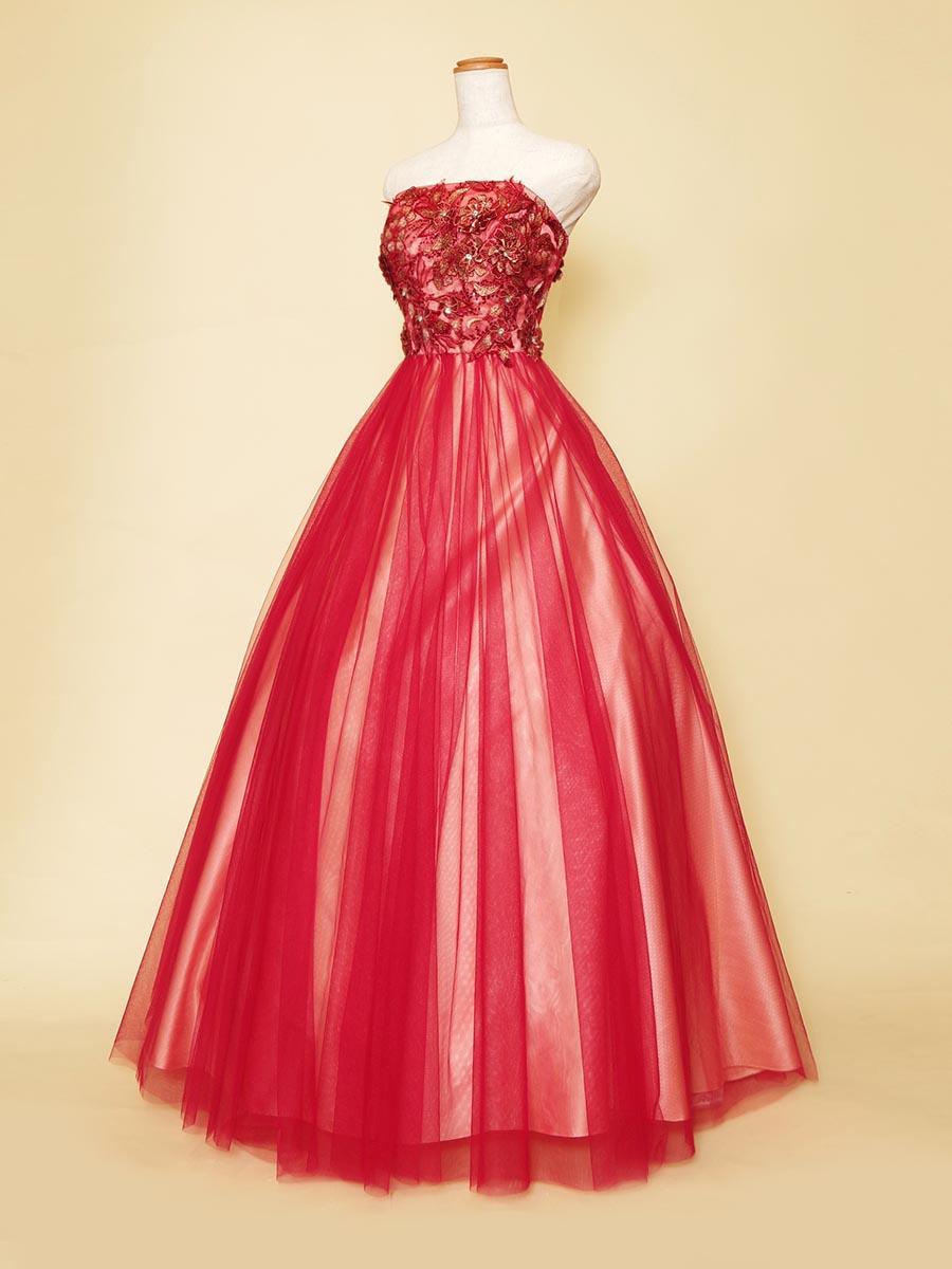 フラワーバストデザインにベージュ×レッドのお洒落なチュールサテンの組み合わせを施したステージドレス