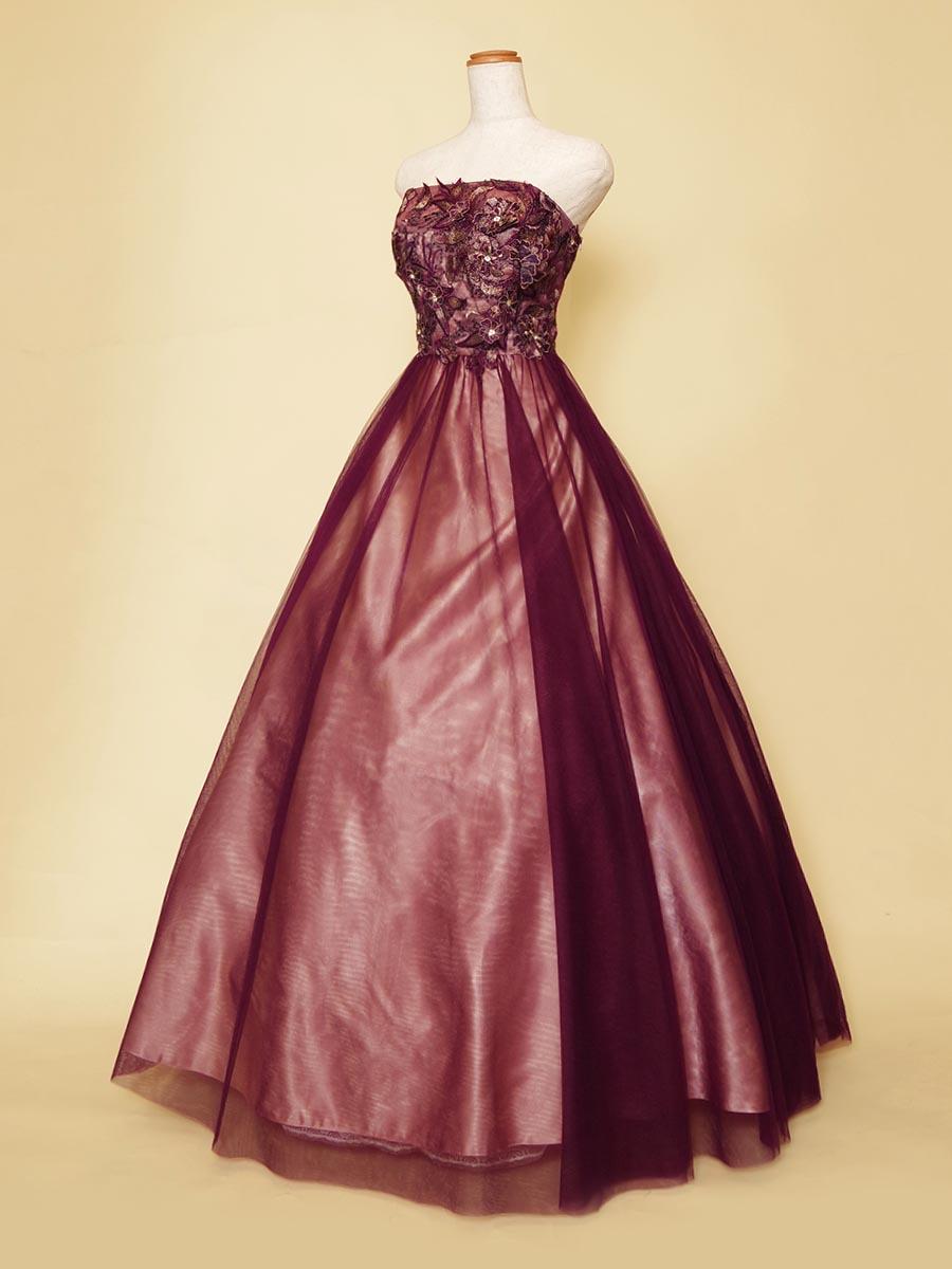 パープルチュール×ピンクサテンが大人らしさとキュートさの両面を表現した大人っぽさ満点の演奏会ボリュームドレス