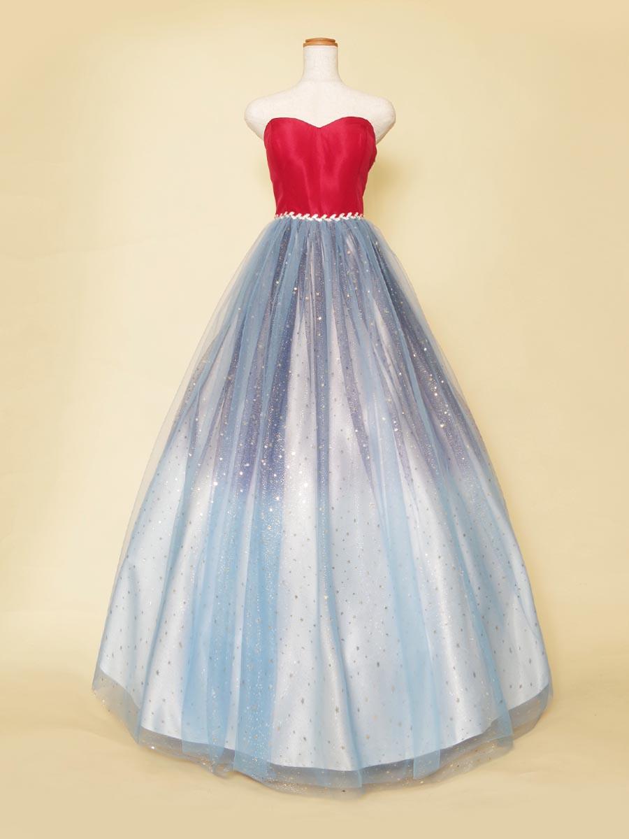 レッド×ブルーのクッキリとしたコントラストが印象的なスターグリッタースカートデザインのステージドレス