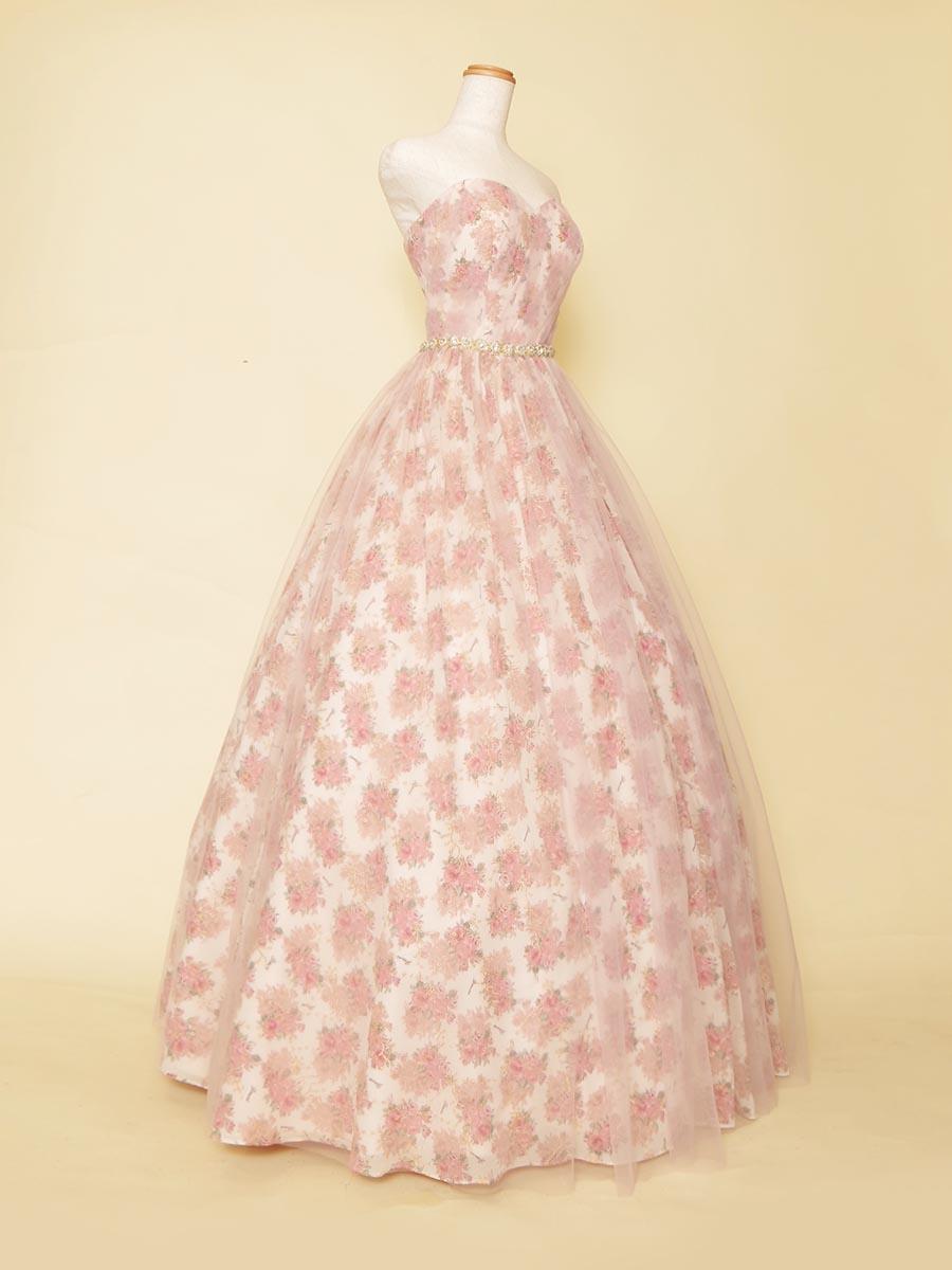 ブリティッシュフラワーパターンデザインが可愛らしいお姫様スタイルのステージロングドレス