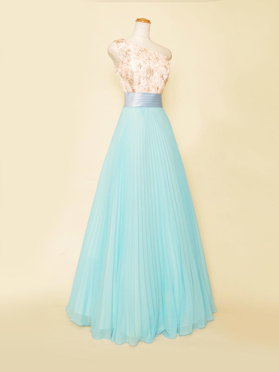 バイオリン奏者様にもオススメ!ワンショルダーデザインにプリーツスカートを組み合わせたパステルブルー×ピンクのスレンダーステージドレス
