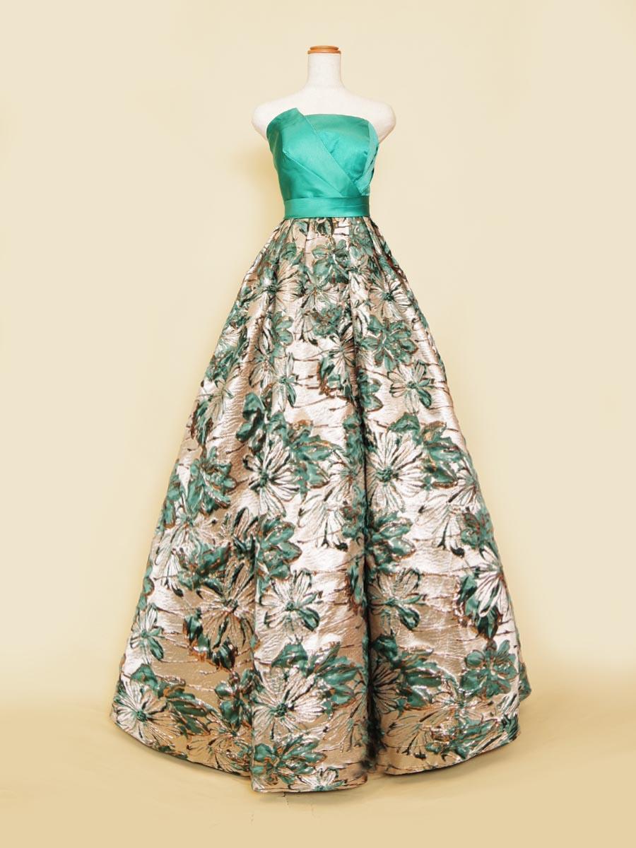 鮮やかな花柄モチーフのジャガードが魅力的なウエスト切り替えエメラルドグリーンカラードレス