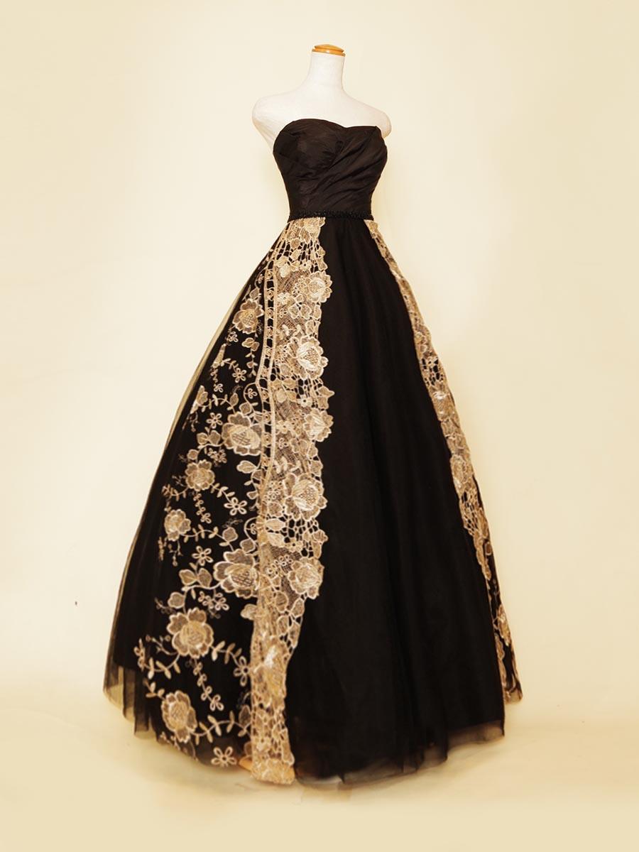 ブラックボリュームのエンタシススカートデザインの演奏会ボリュームロングドレス