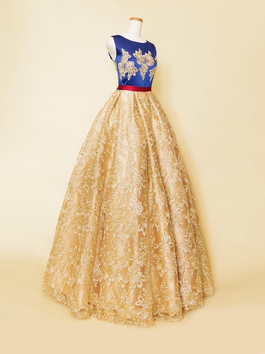 イエローゴールド刺繍スカートにロイヤルブルートップを組み合わせたデザインステージドレス