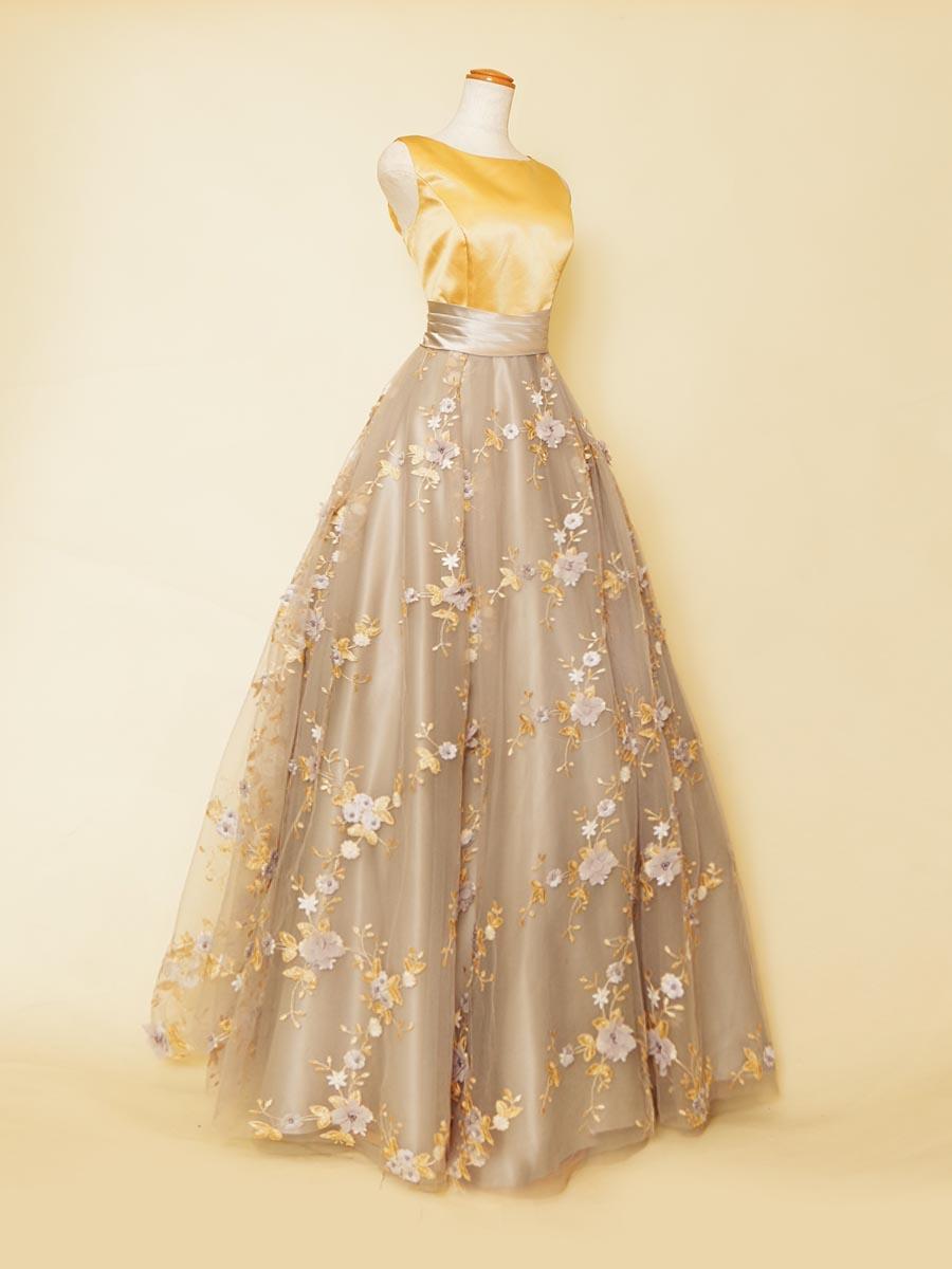 グレースカート×イエロートップの上品な色の組み合わせの肩袖デザインロングドレス