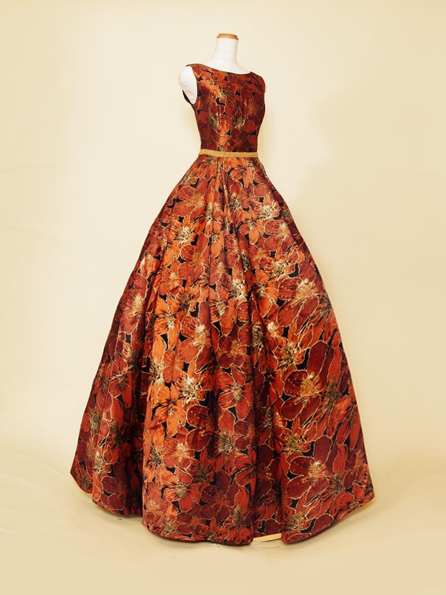 コッパーカラーのジャガードのお花がエレガントな肩袖デザインコンサートドレス