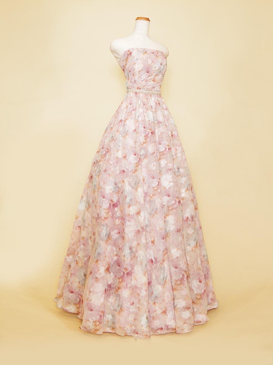 パープルピンクのオール花柄デザインのAラインシルエット演奏会ロングドレス