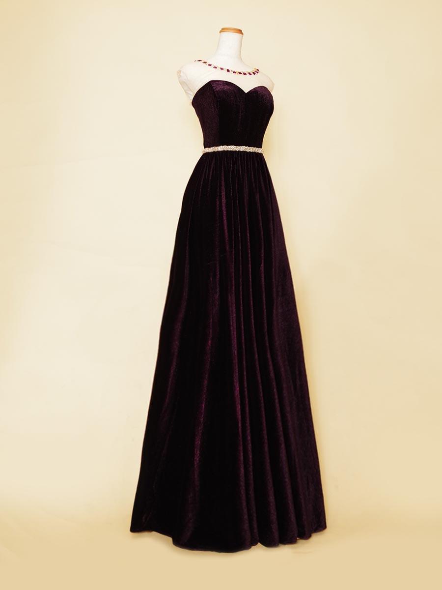 アメジストのようなゴージャスな輝きを放つコンサート向け片袖付きベルベットドレス