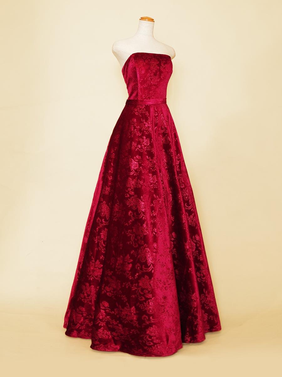 さりげない花柄が可愛らしいベロアワインレッドカラーのフロッキーAラインドレス