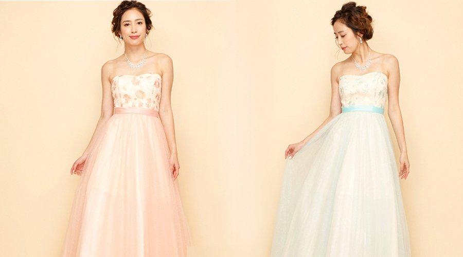 フラワー刺繍&ベルトデザインが女の子らしいソフトな色合いのカラードレス
