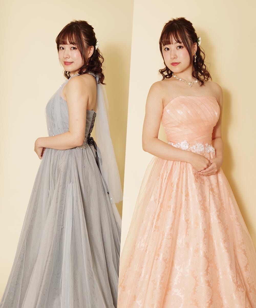 シルバーグレーのカラードレスとパステルピンクのロングドレスの二着で撮影を行ったピアニストのお客様のお写真