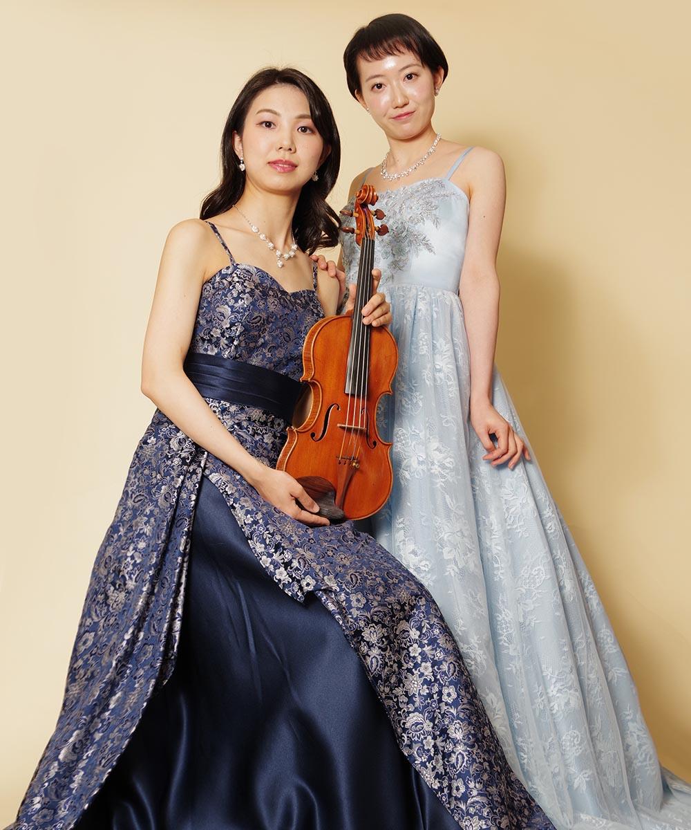 バイオリニストとピアニストの2名のお客様のコンサート用の宣材写真