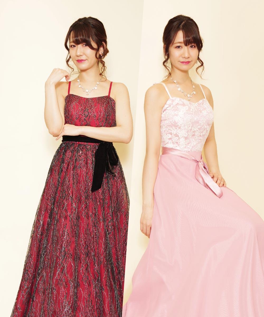 レッドドレスとピンクドレスの2着を衣装チェンジで着用頂いたお客様のプロフィール写真